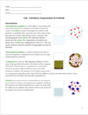Lab - Solutions, Colloids & Suspensions
