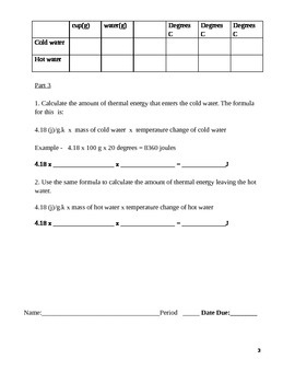 Lab - Specific heat and energy
