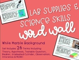 Lab Supplies & Science Skills Word Wall in Marble