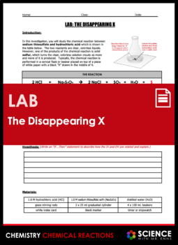 Lab - The Disappearing X Rate of Reaction Activity