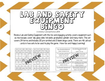 Lab and Safety Equipment Bingo
