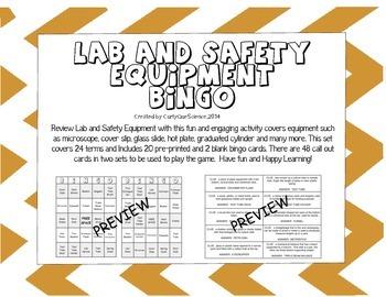 Lab and Safety Equipment Bingo