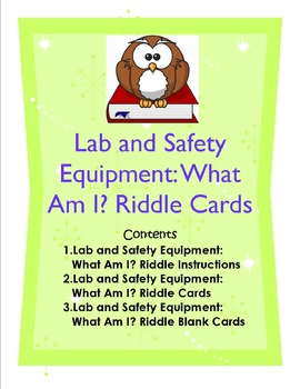 Lab and Safety Equipment: What Am I? Riddle Cards