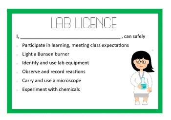 Lab licence - demonstrating science safety
