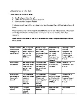 Lab safety cartoon directions and rubric