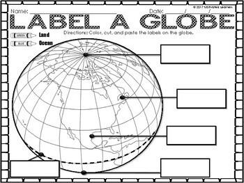 Map Skills: Label A Map, Label A Globe