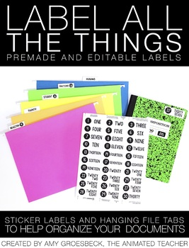Sticker Labels and Hanging File Tabs - Editable and Premade