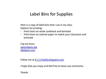Label Bins for supplies