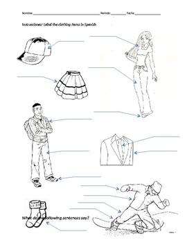 Label Clothing and Llevar Practice / La Ropa y Llevar