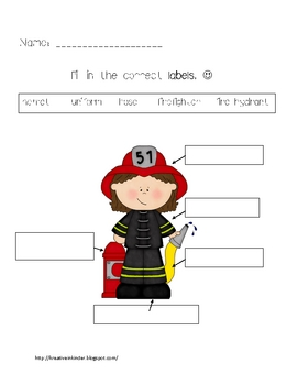 Label Firefighter by Kreative in Kinder | Teachers Pay Teachers