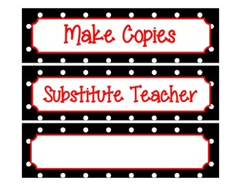 Label Inserts for Sterlite Drawers *BUNDLE PACK** - Black/White Polka Dot Style