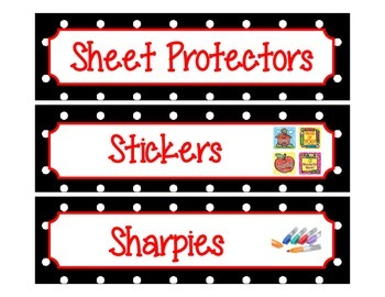 Label Inserts for Sterlite Drawers *BUNDLE PACK** - Black/White Polka Dot Style
