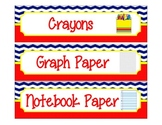 Label Inserts for Sterlite Drawers *BUNDLE PACK** - Chevron/Nautical Style