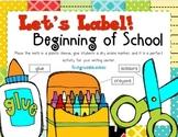 Label It! Beginning of School