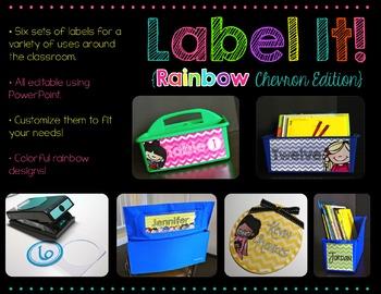 Label It! {Editable Rainbow Chevron Labels- No Clip Art Edition}