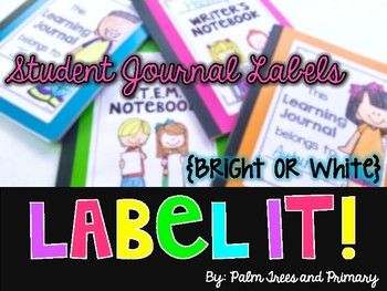 Label It! || Student Composition Notebook Cover Labels {bright or white}