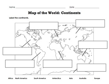Label Map of the World: Continents, Oceans, Mountain Ranges by ...