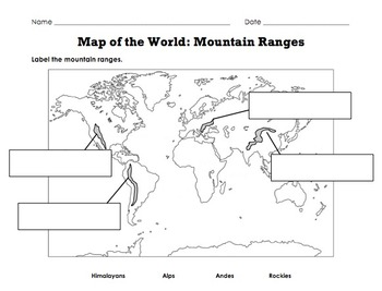 Label Map of the World Continents Oceans Mountain Ranges by