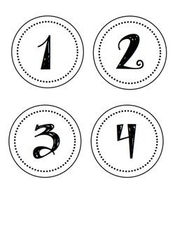 Label Numbers 1-24 Circles