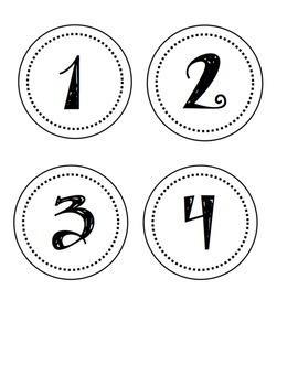 Label Numbers 1-24 Circles