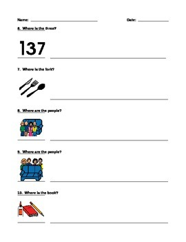 Label Prepositions / Positions Worksheet