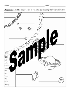 Label Solar System Worksheet