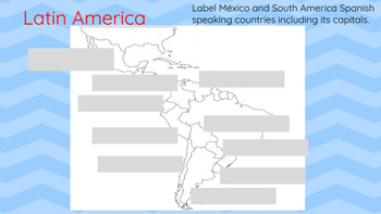 Label Spanish Speaking Countries in Latin America / Google Classroom