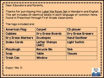 Classroom Labels--Mandarin-Set 2