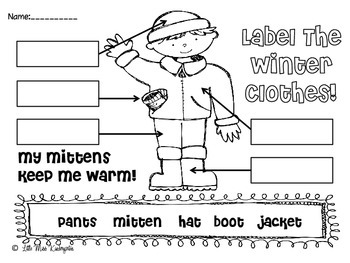 Label The Winter Clothes By Little Miss Kindergarten Tpt