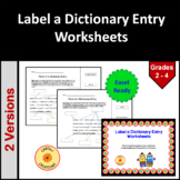 Label a Dictionary Entry Worksheet