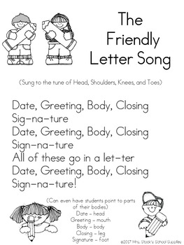 Label A Friendly Letter Activity And Song By Mrs Stocks School Supplies