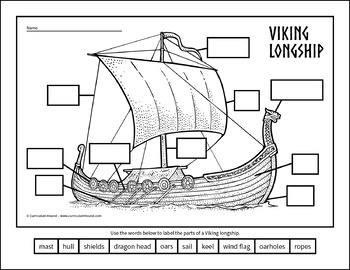 Label a    Viking    Longship    Diagram     Parts    of a Viking