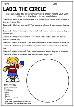 Label and Draw the Parts of a Circle - Activity