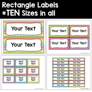 "Label and Sign Templates in ""Crazy for Color"" Dots, Chevron, and Stripes"