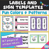 Label and Sign Templates in Fun Colors and Patterns