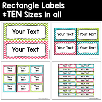 Label and Sign Templates in Pink, Turquoise, and Lime Green