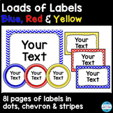 Editable Labels and Sign Templates in Primary Colors - Red