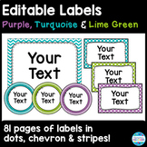 Label and Sign Templates in Purple, Turquoise and Lime Green