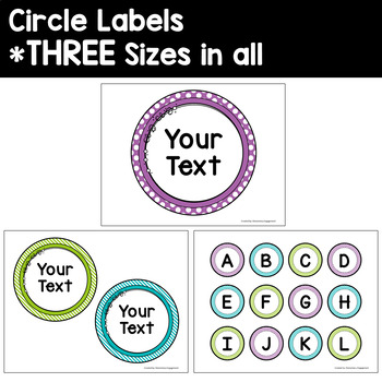 Labels and Sign Templates in Purple, Turquoise and Lime Green