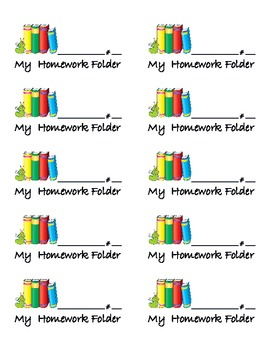 Label for Homework Folder