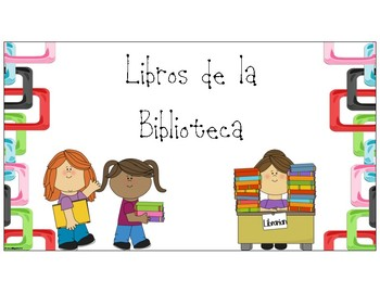 Label for Library Book basket/Cartel para la Canasta de Libros de la Biblioteca