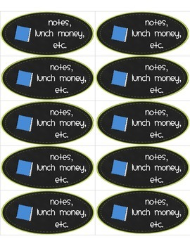 Label for Notes & Lunch Money