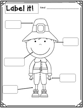 Label it! Fall / Thanksgiving Literacy Activity