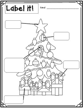 Label it! Winter / Christmas Themed Literacy Activity