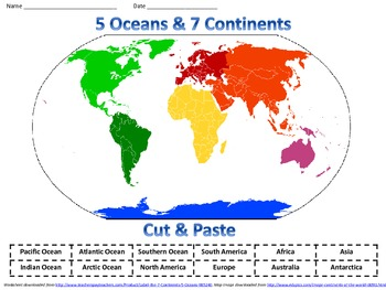 Label the 7 Continents & 5 Oceans