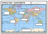 Label the 7 Continents - Worksheet