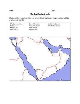 Label the Arabian Peninsula
