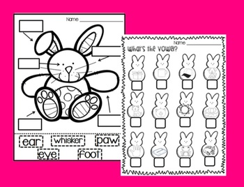Label the Bunny and Vowel Peeps