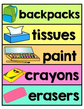 Classroom Labels -Around the Room - Word Wall, Word Recognition, Classroom Print
