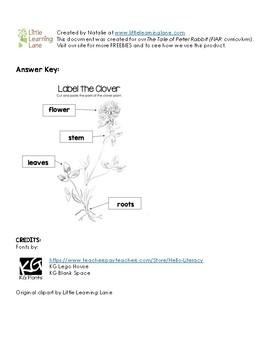 Label the Clover Worksheet
